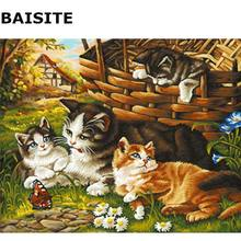 BAISITE DIY Painting By Numbers Frameless Wall Art Lovely Cat Hand Painted Oil Painting On Canvas Home Decor Unique Gift 8088(China)