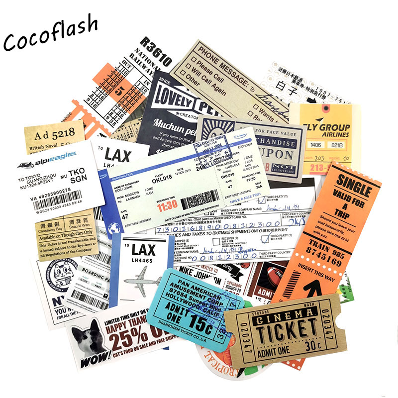 25pcs/lot Air Ticket Retro Travel Sticker For Skateboard Laptop Luggage Snowboard Fridge Phone Toy Styling Home Decor Stickers