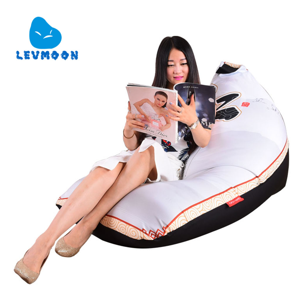 LEVMOON Beanbag Sofa Chair REN Pring Seat Zac Comfort Bean Bag Bed Cover Without Filling100% Cotton Indoor Beanbags Lounge Chair<br>