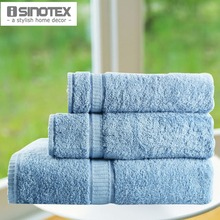 Free Shipping Blue Towel Set 100% Cotton Solid Spiral Satin Handkerchief+Face Towel+Bath Towel Plain Dyed toalha Quick-Dry(China)