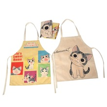 Lychee 1pc Cartoon Cat Sleeveless Apron Kitchen Personalized Chef Aprons Kawaii Cafe Cooking BBQ Party Cleaning Aprons(China)
