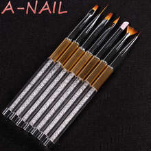 Carving Powder 1 set 7 pcs Nail Art Brush Pen Rhinestone Diamond Metal Acrylic Handle Carving Powder Gel Liquid Salon Liner(China)