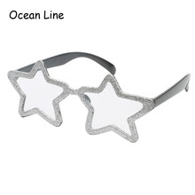 Lovely Silver Powder Shiny Star Costume Glasses Transparent Lens Party Favors Birthday Props Festive Party Supplies Decoration(China)