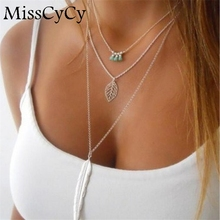MissCyCy Fashion Simple Necklaces Leaf Long Pendant Necklaces 3 Layer Chain Necklace multilayer Necklaces(China)