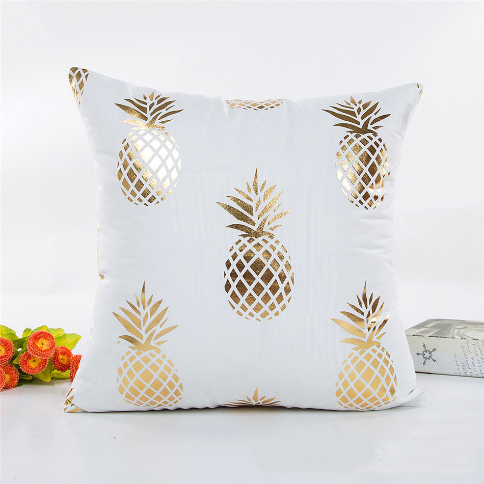 Bronzing Cushion Cover Geometry Pineapple Printed Pillow Case Cover Luxury Sequin Gold Bedroom Home Sofa Decorative Pillowcase (4)
