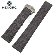 HENGRC 22mm Rubber Watchbands Strap Men Soft Sport Diving Silicone Watch Band Steel Metal  Deployment Clasp Watch Accessories