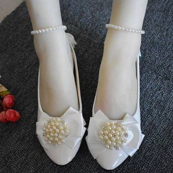 Wedding flats shoe butterfly-bow ankle beading straps ladies flower girls shoe NQ137 ladies wedding party crystal bowtie shoe