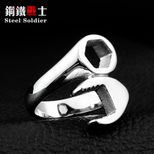 Steel soldier mix color unusual Hot Sale 316L Titanium Stainless steel Punk Biker Wrench Man rings jewelry(China)
