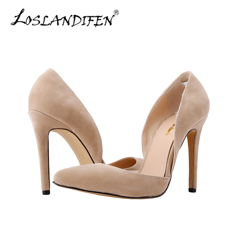 Classic Spring Two Pieces Women Pumps Sexy Velvet Pointed Toe High Heels Shoes Woman Designer Wedding Shoes Nude 302-36VE<br><br>Aliexpress