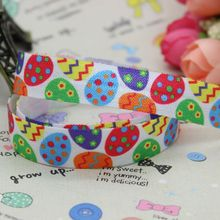 5/8 inch Free shipping Fold Over Elastic FOE Easter eggs printed ribbon headband  hair band  diy decoration wholesale OEM B137