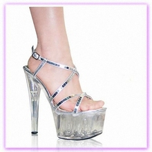 Manufacturers selling cheap wholesale 17 cm high heels transparent crystal sandals Hollow out shoes heels Rome(China)