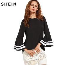 SHEIN Black Women Elegant Striped Long Flare Sleeve Women Tops and Blouses Ladies Top for Autumn Keyhole Back Blouse(China)