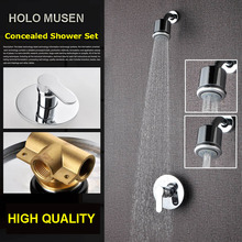 High Quality Chrome 3 Shower Way Change Wall Shower Mixer Valve Hot Cold Water Bathroom Concealed Shower Set(China)