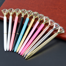 1 Pcs Lovely Big carat diamond Crystal Pen Gem Ballpoint pen ring wedding office Metal ring roller ball pen Rose gold silver