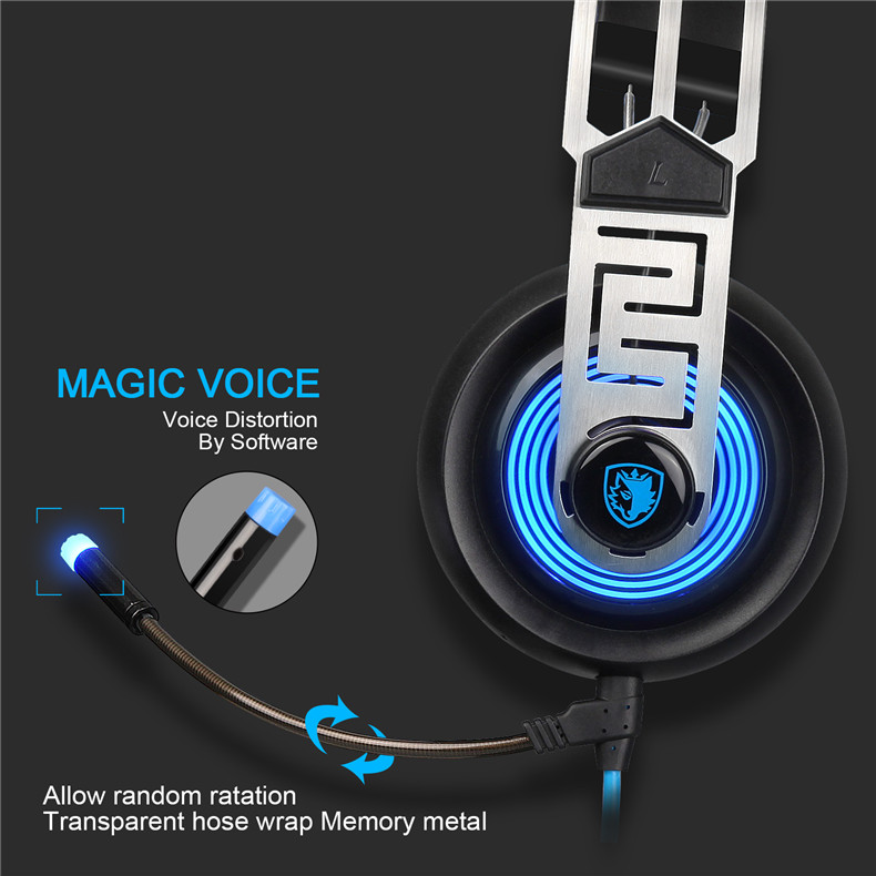 Sades A7 USB Gaming Headset Headphones 7.1 Stereo Surround Sound Earphone Game Headphone with Microphone Led for PC Laptop Gamer (5)