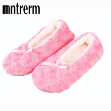 2017 Cute Bowtie Warm Winter Women Indoor Slippers Bedroom House Soft Bottom Flats Christmas Gift Sewing Girl ballet shoes(China)