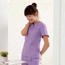 New Arrival Women's Lab Coat Hospital Surgical Or Medical Uniform Scrub Clothes Sets Short Sleeve and V Neck Design