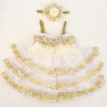 ivory lace petti lace flower ruffle dresses for baby girls kids cute summer gold lace petti dress in stock(China)