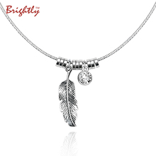 Brightly Fashion Ethnic Vintage Silver Color Choker Collar Necklace Feather and Rhinestone Pendants Necklaces for Women Gifts(China)