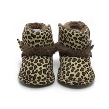 Leopard Grain Design Warm Winter Baby Boots Flannelette High Quality Elegant Baby Infant Toddler Boots Soft Comfortable Shoes