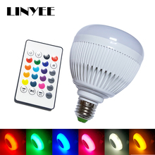 cheap Smart Wireless Bluetooth 12W 28 LED Stereo Audio Speaker RGB Colorful Music Bulb Lamp+ 24keys remote controller