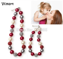 Vcmart 2Pcs Adult & Kid Chunky Bubblegum Necklace Set Red White Silver Mommy Gumball Beaded Little Girls Sisters Necklace Set(China)
