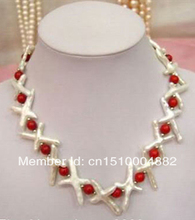 "free shipping  0010 Fashion jewelry 18"" White Keshi Cross Pearl & Red Coral Necklace"