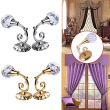 2pcs Large Metal Crystal Ball Curtain Hooks Tassel Wall Tie Back Hanger Holder Curtain Hanging Tools 4 colors(China)