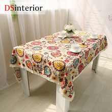 DSinterior Cotton linen lace tablecloth for home table cloth cushion cover custom made