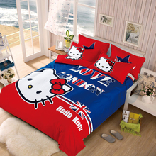 XINLANISNOW 2017 New bedding sets cartoon Hello Kitty soft child duvet cover pillowcase Fitted sheet / bed sheet 4pcs Queen Size