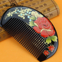 Diaphanous handmade Boxwood combs Authentic hand-painted lacquer art wood combs hair style designer for ladies pocket combsY029(China)
