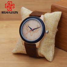 Deer Head Wood Clock Man Made From Liberty Dark Dial Wooden Watch With Classic Men Real Leather Boyfriend Gift Watches SIHAIXIN