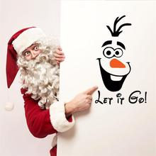Funny Novelty Toilet Refrigerator Sticker Decal 3D Christmas Wall Sticker Bedroom Decoration Olaf Wall Decal for Kids Rooms