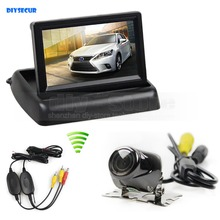 Wireless 4.3 Inch Car Reversing Camera Kit Back Up Car Monitor LCD Display HD Security Metal Car Rear View Camera