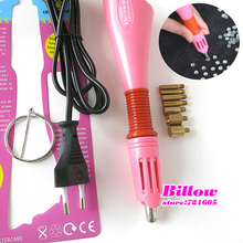 Fast Heated!! Pink and Purple Iron-on Hot Fix Rhinestone Applicator Wand 1pcs/lot Heat-fix Tool Free Shipping B1979(China)