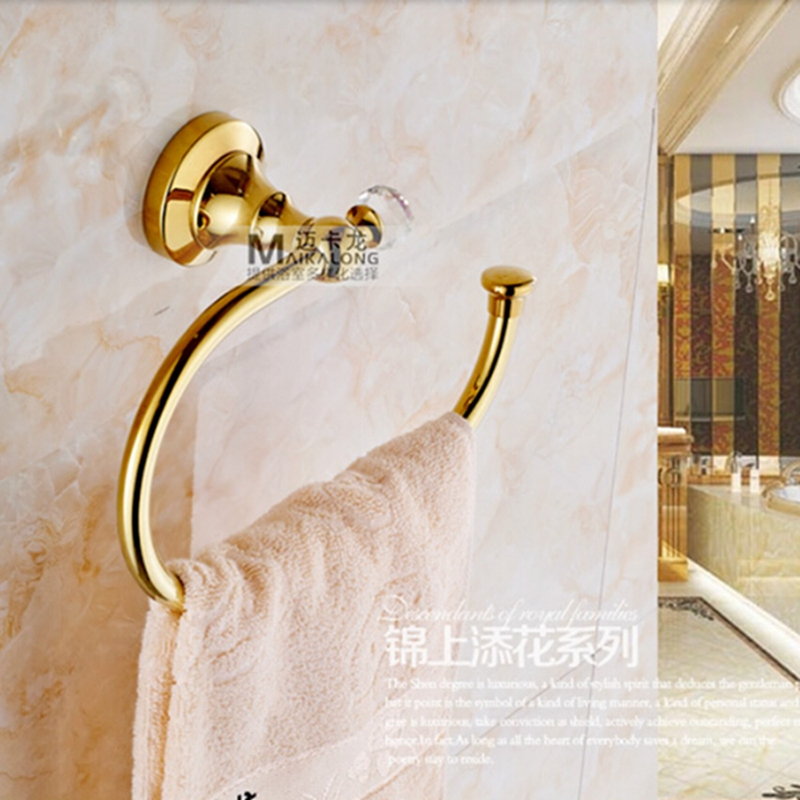 Wholesale And Retail Free Shipping Crystal Style Golden Brass Bathroom Towel Rack Holder Wall Mounted Towel Ring Towel Hanger<br>