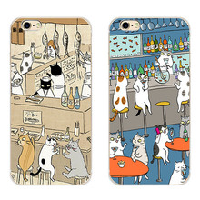 "For Apple iPhone 7 Plus Phone Case 5 5C SE Shell 4.7"" 6 6S 5.5 Inch Transparent Cover Soft Silicon Cat Drink Pattern Skin"