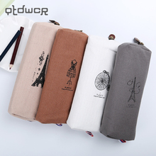 1PC Fashion Retro Linen Pencil Bag Paris Style Stationery Storage Bag Office School Supplies 4 Color Available(China)