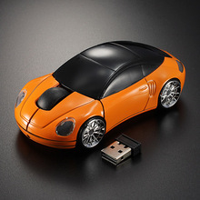 Brand New High Quality Orange Computer Laptop 1600DPI Mouse Optical Mice 3D 2.4G USB Wireless Car Shaped