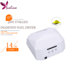 Suelina Special Touch Lamp 36W Diamond LED+UV Nail Dryer 10Sec 30s 60s Quick-drying Lamp With Sensor FREE SHIPPING(China)