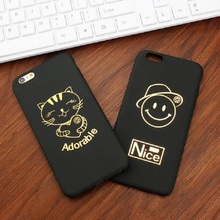plain Black stick gold flash cell phone shell phone cases for Apple iphone 5 5s 6 6s 7 plus Noble black gold mobile phone soft