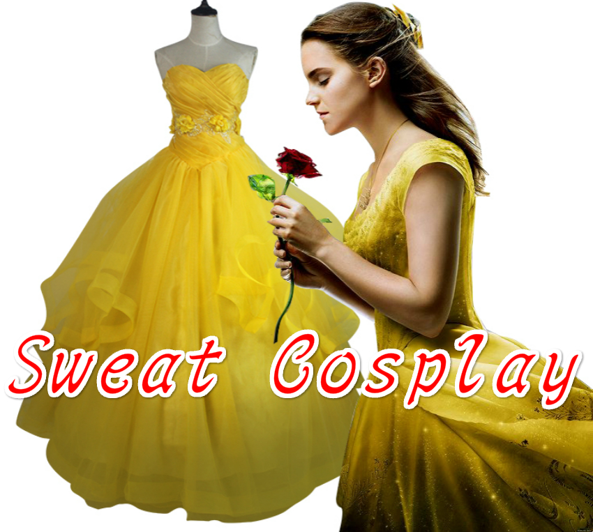 High Quality Beauty and The Beast Princess Belle costume Emma Watson Belle dress costume adult women yellow Cosplay Costume