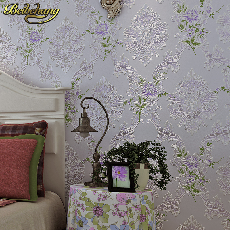 beibehang Europen Classic papel de parede 3D flooring Damask Wallpaper Embossed Flocking Non-Woven Modern Home Decor Wall paper<br>