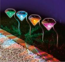 IP65 Waterproof Stainless Solar lawn light for garden decorative colorful outdoor led solar lights Diamond Yard lighting x 4pcs