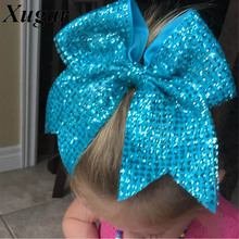 8'' Girls Handmade Fashion Sequin Cheer Bow Solid Bling Cheerleading Hair Bow With Elastic Boutique Hair Accessories(China)