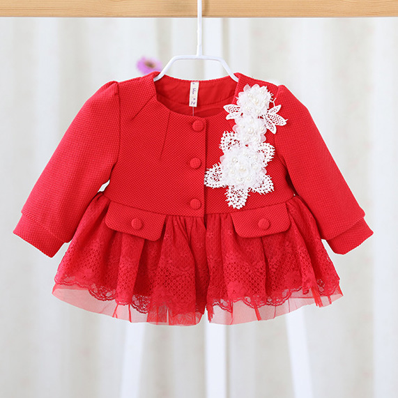 Hot girls baby coat 2017 spring and autumn flowers infant children's princess coat red cardigan jacket