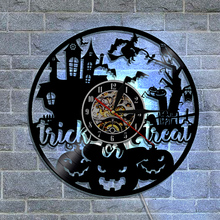 1Piece Trick or Treat Movie Theme Vinyl Clock Halloween Decor Wall Art Vinyl LED Night Light Wall Clock With Color Changing(China)