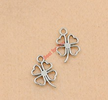 Zinc Alloy Leaf Clover Charm Pendant Tibetan Silver Plated Jewelry DIY Making Accessories Handmade 17x11mm