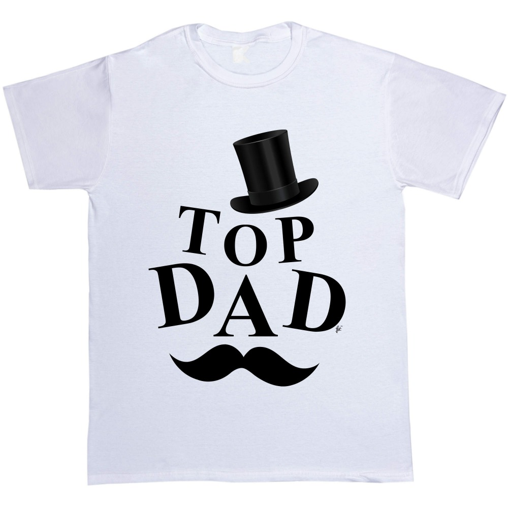 Cool Shirt Designs Men'S Short Funny Crew Neck Top Hat Top Dad Gentlemans Moustache Fathers Day Gift Present T Shirt
