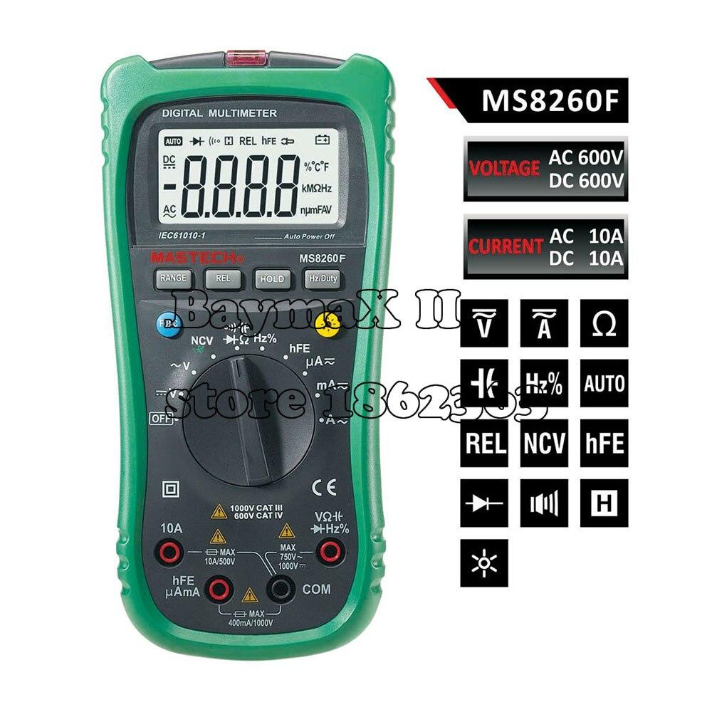 MASTECH MS8260F Megohmmeter DMM Frequency Capacitor w/NCV &amp; hFE Meter &amp; LCD Backlight Multimetro Auto Range Digital Multimeter<br>